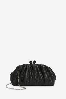 Black Embossed Weave Frame Slouchy Clutch Bag