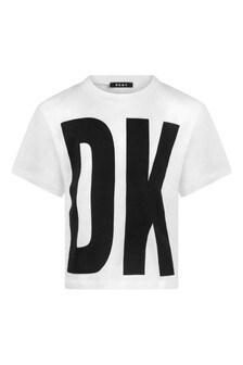 Girls White Cotton Logo Print T-Shirt