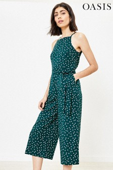 Oasis Green Spot Lace Back Jumpsuit