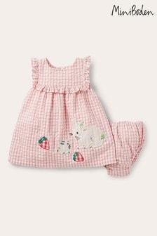 Boden Pink Woven Gingham Dress