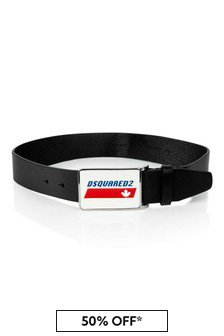 Boys Black Leather Logo Belt