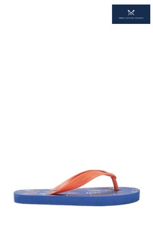 Crew Clothing Blue Printed Flip Flops