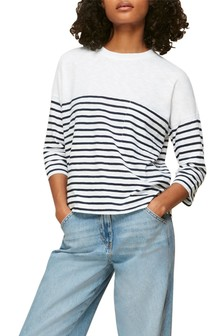 Whistles Stripe Cotton Pocket T Shirt