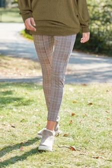 Neutral Check Ponte Leggings