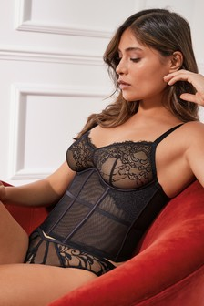 Black Non Padded Wired Luxurious Embroidered Corset