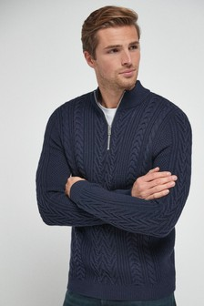 Navy Cable Knit Zip Neck Jumper