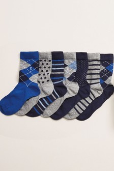 Blue 7 Pack Smart Cotton Rich Socks (Older)