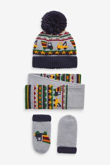 Grey 3 Piece Hat, Gloves And Scarf Vehicle Set (Younger)