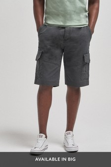 Charcoal Premium Longer Laundered Cargo Shorts