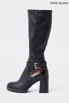 River Island Black Chunky Studded High Leg Boots