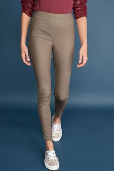 Taupe Sculpt Pull-On Coated Leggings