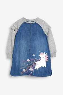 Denim Unicorn Raglan Dress (3mths-7yrs)
