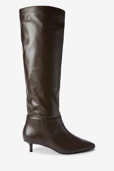 Chocolate Forever Comfort® Kitten Heel Long Boots