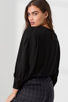 Black Puff Long Sleeve Top