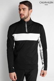 Calvin Klein Golf Black Embossed Half Zip Top