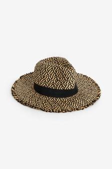 Monochrome Frayed Panama Hat