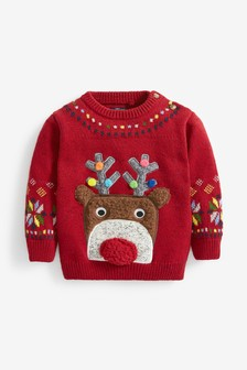 Red Reindeer Christmas Jumper (3mths-7yrs)