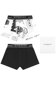 Boys Black And White Cotton Boxer Shorts Two Pack