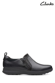 Clarks Black Leather/Suede Combi Un Adorn Zip Shoes