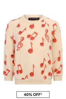 Kids Beige Organic Cotton Notes Sweater