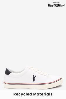 White Recycled Canvas Stag Trainers