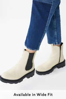 White Regular/Wide Fit Forever Comfort® Chunky Chelsea Boots