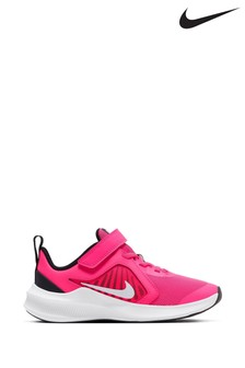 Nike Run Pink/White Velcro Downshifter 10 Junior Trainers
