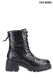 Steve Madden Black Feyla Lace-Up Boots