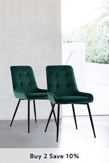 Opulent Velvet Bottle Green Set Of 2 Cole Dining Chairs With Black Legs