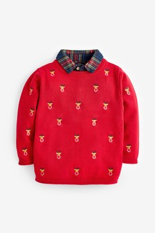 Red Christmas Embroidered Mock Collar Jumper (3mths-7yrs)
