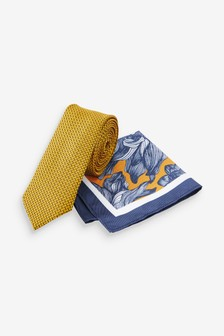 Yellow/Navy Floral Pocket Square And Tie Set