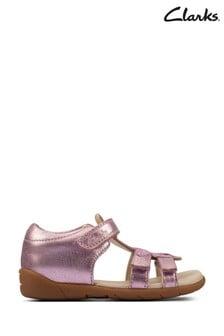 Clarks Pink Leather Zora Summer T Sandals
