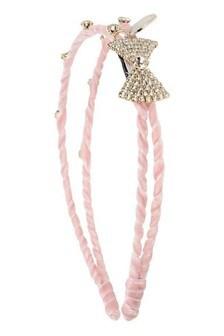 Girls Pink Diamanté Bow Headband