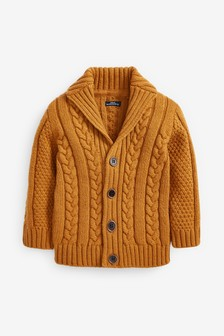 Ochre Cable Button Through Cardigan (3mths-7yrs)