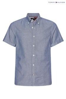 Tommy Hilfiger Blue Slim Cotton Linen Dobby Short Sleeve Shirt