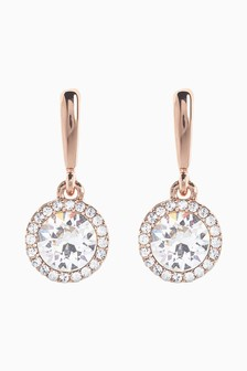 Rose Gold Plated Sparkle Drop Earrings With Swarovski® Crystals