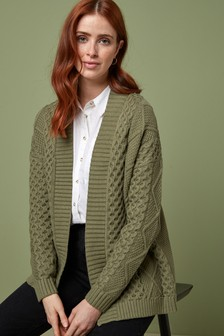 Khaki Cable Edge to Edge Cardigan