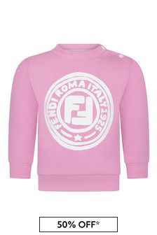 Baby Girls Pink Cotton Logo Sweater