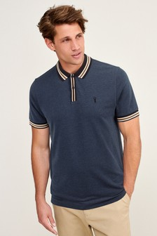 Navy Marl Tipped Regular Fit Polo Shirt