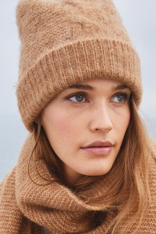 Camel Cable Beanie Hat