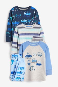 Blue 3 Pack Cars Snuggle Pyjamas (9mths-8yrs)