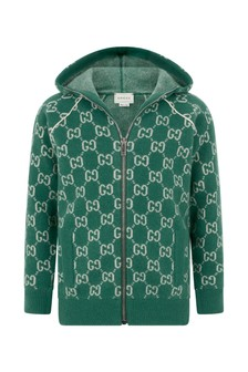 Boys Green Wool GG Hooded Zip Up Cardigan