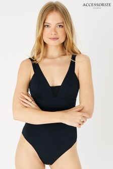 Accessorize Black Lexi Mesh Insert Slimming Suit