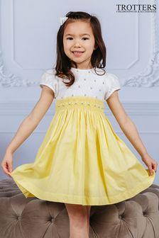 Trotters London Lemon Rose Hand Smocked Dress