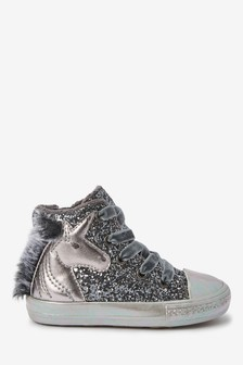 Silver Unicorn Warm Lined High Top Trainers (Younger)