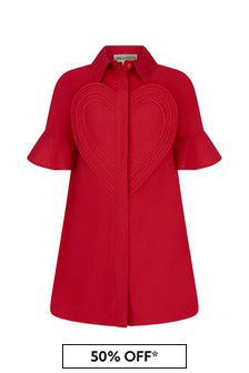 Simonetta Girls Red Cotton Dress