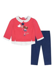 Baby Girls Coral Sweater And Navy Leggings Set