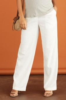 White Maternity Linen Blend Wide Leg Trousers