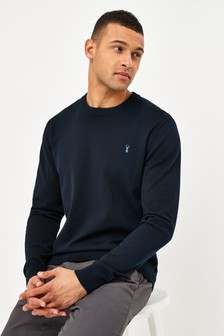 Navy With Stag Embroidery Crew Neck Cotton Rich Jumper
