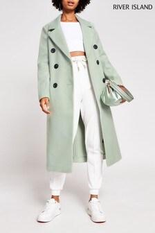 River Island Green Light Drop Shoulder Coat